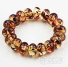 Bold Style Abacus Shape Immitation Amber Elastic Bangle Bracelet under $ 40