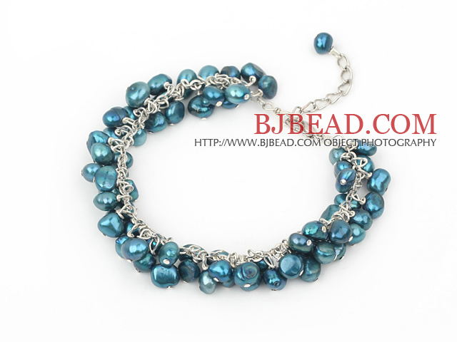 6-7mm dyed dark green pearl bracelet with metal chain and lobster clasp