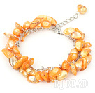 8-10mm dyed orange pearl bracelet with metal chain and lobster clasp