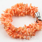 Multi Strands Orange Coral Bracelet with Magnetic Clasp under $ 40