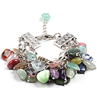 Fashion Multi Color Different Shapes Multi Gemstone Charm Bracelet