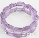 Big Style Concave Shape Purple Jade Stretch Bangle Bracelet