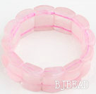 Big Style Concave Shape Rose Quartz Stretch Bangle Bracelet