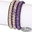 Fashion Style 3 pcs Single Strand Natural Round Crystal Beaded Leather Bracelet under $ 40