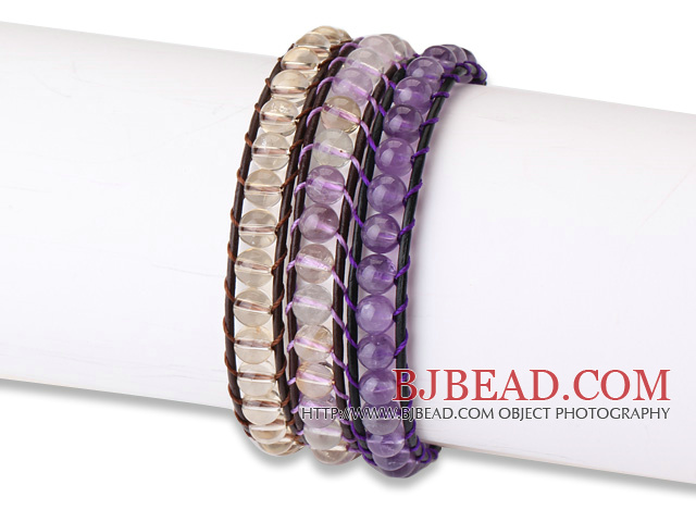 Fashion Style 3 pcs Single Strand Natural Round Crystal Beaded Leather Bracelet