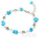 simple blue turquoise bracelet with lobster clasp