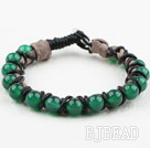 Fashion Style Leather and Round Green Agate Bracelet with Metal Clasp