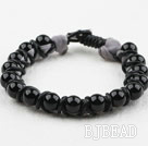 Fashion Style Leather and Round Black Agate Bracelet with Metal Clasp