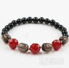 Smoky Quartz and Red Carnelian and Black Agate Stretch Bangle Bracelet