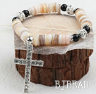 Disc Shape Shell and Black Agate and White Rhinestone Ball and White Cross Dangle Stretch Bangle Bracelet