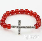 White Rhinestone Sideway/Side Way Cross and Round Red Carnelian Stretch Bangle Bracelet under $ 40