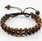 Fashion Style Two Row Round Tiger Eye Woven Drawstring Bracelet