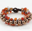 Fashion Style Three Layer Agate and Brown Color Shell Beads Woven Bracelet