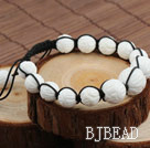 Fashion Style Carved Lotus White Sea Shell Drawstring Bracelet
