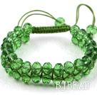 Fashion Style Two Row Grass Green Crystal Drawstring Bracelet under $ 40
