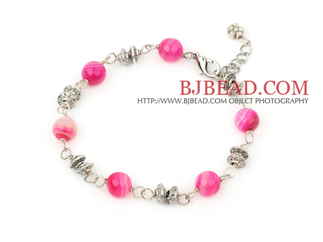 8mm pink agate fashion bracelet with lobster clasp