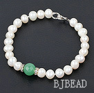 8-10mm white pearl and aventurine bracelet with lobster clasp under $ 40