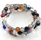 8mm Multi Color Crystal Wrap Bangle Bracelet
