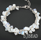moonstone bracelet with metal chain and lobster clasp