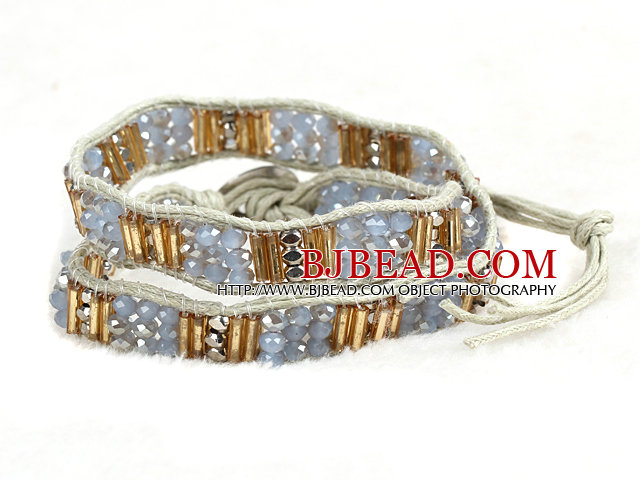 Fashion Style Gray Series Crystal Beads Wrap Bangle Bracelet