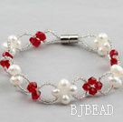 Fashion Style White Freshwater Pearl and Red Crystal Bracelet with Magnetic Clasp