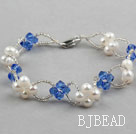 Blue Series Fashion Style White Freshwater Pearl and Blue Crystal Bracelet