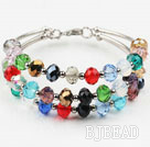 Three Strands Multi Color Manmade Crystal Bangle Bracelet under $ 40