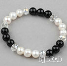 White Freshwater Pearl and Clear Crystal and Black Agate Beaded Bangle Bracelet