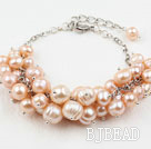 Natural Pink Freshwater Pearl Bracelet with Metal Chain
