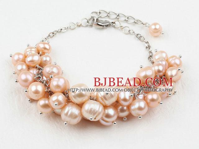 c33766dc4729 Naturales de agua dulce rosa pulsera de perlas con cadena de metal