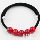 Simple Design Round Red Coral Bangle Bracelet