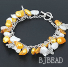 gold and white pearl bracelet with toggle clasp