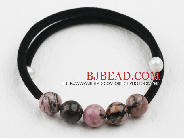 Simple Design Round Rhodochrosite Bangle Bracelet