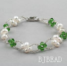 Green Series Fashion Style White Freshwater Pearl and Green Crystal Bracelet