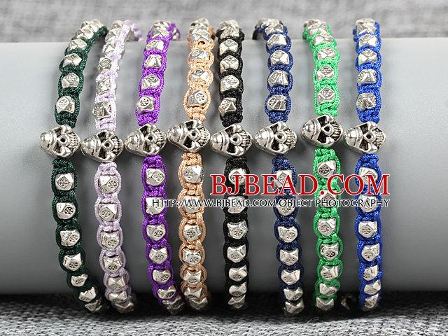 8 PCS Fashion Nickel Free Alloyed Skull Head Charm Multi Color Thread Hand-Knitted Bracelet (Random Color)