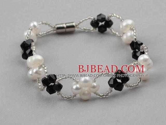 54e3573be979 Perla de agua dulce blanco y pulsera de cristal Negro con cierre magnético
