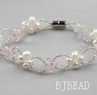 White Freshwater Pearl and Pink Crystal Bracelet with Magnetic Clasp