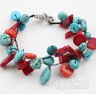 Assorted Red Coral and Turquoise Bracelet