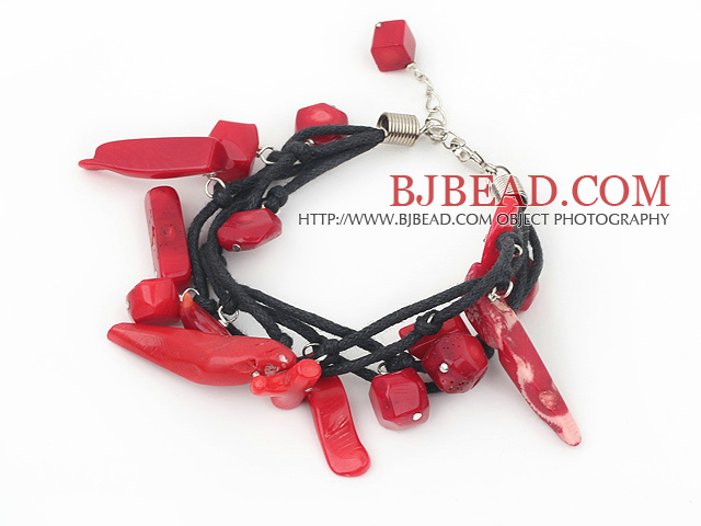coral bracelet with lobster clasp and black cord