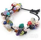 seven colored stone and pearl crystal bracelet with black cord under $ 40