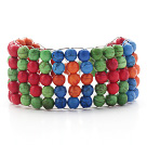 Assorted Colorful Dyed Turquoise Wire Bracelet with Lobster Clasp