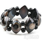 Eye Shape Black Agate Elastic Bangle Bracelet