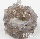 Long Style Gray Agate Wrap Bangle Bracelet
