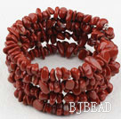 Long Style Red Jasper Chips Wrap Bangle Bracelet