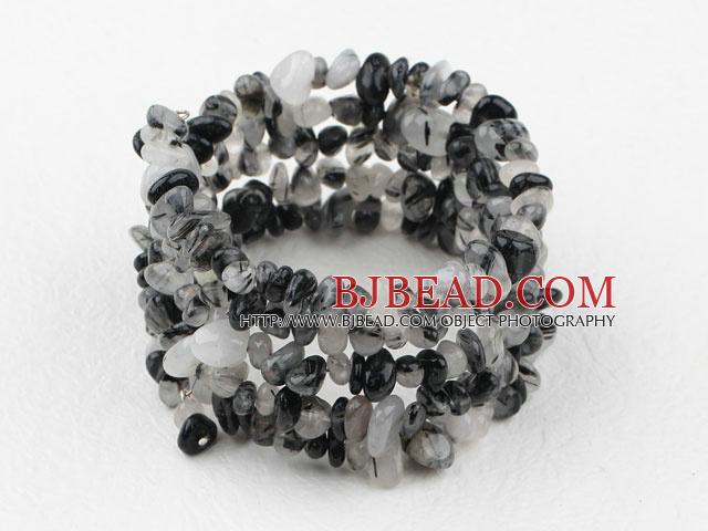 Long Style Black Rutilated Quartz Chips Wrap Bangle Bracelet