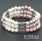3 strand natural white and purple 6-7mm pearl bracelet