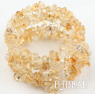 Long Style Citrine Chips Wrap Bangle Bracelet
