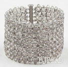 Big and Wide Style Gray Crystal Woven Bangle Bracelet under $ 40