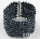 Big and Wide Style Tungsten Black Crystal Woven Bangle Bracelet
