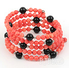 multi strand black agate and red coral bangle